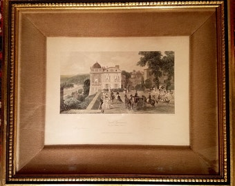 Antique hand colored French engraving, St. Germaine en Laye, France