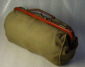 French linen military midwife or doctors medical bag WW1 or WW2