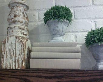 Linen covered books mantle display vintage country shabby chic beach