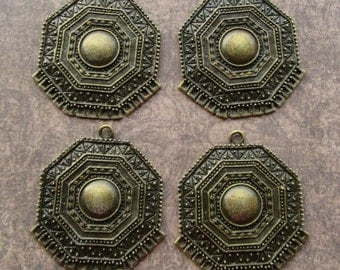 Antique Bronze Big Aztec Tribal Earring Chandeliers Pendants Findings Connectors 13 Hole 48mm