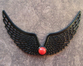 Big Black Metal Wing Pendants, Wings Flying With Red Cabochon, Linking, 90mm