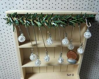 Christmas Tree ornaments - Set O (1:12 scale / Dollhouse miniature)