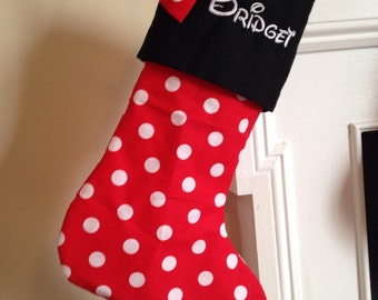 Red Minnie Mouse Disney Inspired Stocking