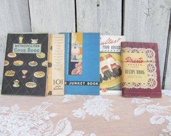 Vintage 1930s Cookbook Pamplets, Metropolitan Cook Book, Presto Cooker Recipe Book, The Junket Book, Pre - WW II Housewife Recipes