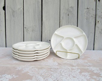 California Pottery White Fondue Plates, Divided Ceramic Sushi Plates, Vintage Tapas Plates, 6 Divided Compartment Plates,OCD No Food Touches