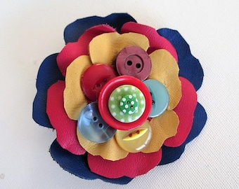 Rainbow corsage, leather flower, multi color bright flower brooch, leather & button corsage, quirky button flower, festival flower corsage