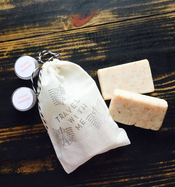 Travel With Me Muslin Bag w/ Two 1oz Coconut Lime Oatmeal Bars and Two Coconut Deodorants