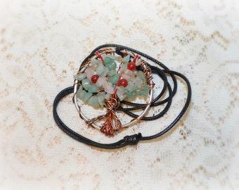Cherry Blossom Tree of Life Necklace, Cherry blossom pendant, Rose quartz Ruby and Green Aventurine Tree of Life, Heart Chakra Necklace,
