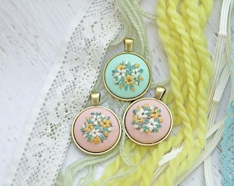 Hand Embroidered Necklace Pendant - Bouquet of White and Yellow Flowers - Pink or Mint Green Cotton Fabric  - Antiqued Bronze Gold