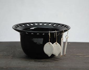 Pottery earring organizer, pottery earring holder, jewelry dish, ceramic earring bowl, balck