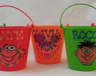 Personalized Bucket Favors, Small Pail Favors, Sesame Street Mini Bucket Favors, Pick Your Theme