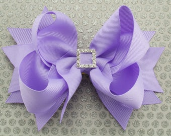 Light Orchid Boutique Hair Bow with Spikes
