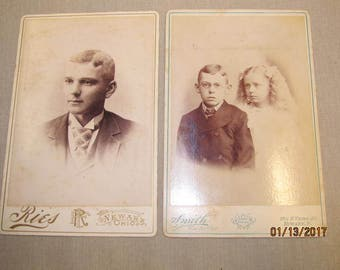 Vintage Newark Ohio Photography Studios Cabinet Cards Smith The Artist & Rie Photography ~ Children Young Man