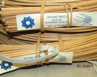 2 - 1 lb Pound Coils Superior Quality Round Reed #4   2.75 MM Basket Weaving Strips 2 lbs total