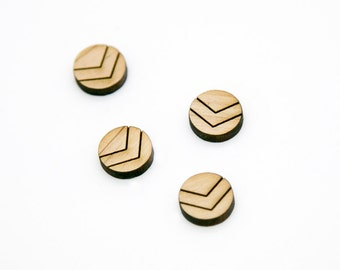 Laser Cut Wood Shape | Wooden Cabochons | Wood Earring Supplies | Mini Wood Earring Shapes | Circle Chevron Shape | 12x12mm | SHL013
