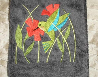 PAIR hand towels - Hummingbird - EMBROIDERED 15 x 25 inch for kitchen or bath