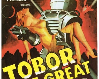 """50% Off Estate Sale Vintage Horror Science Fiction Movie Poster Print, 1954, Tobor the Great, PMSF 11"""" x 14"""""""