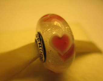 New Authentic Pandora 925 Sterling Silver Pink Wild Hearts Bead Charm