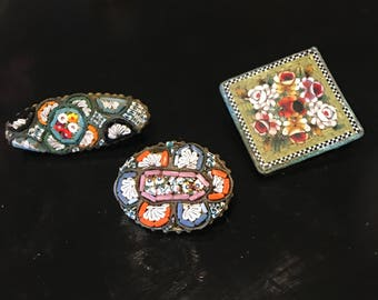 Vintage micro mosaic brooches made in Italy