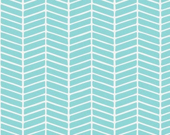 Seafoam Aqua Herringbone Organic Fabric - By The Yard - Girl / Boy / Gender Neutral