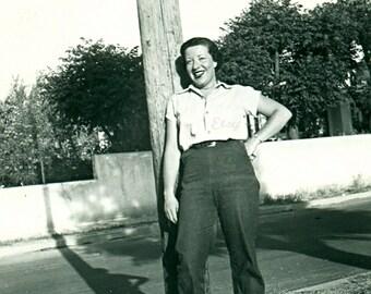 Instant Download Estimated 1940s vintage photo picture woman in work clothes pants Printable Vintage art print