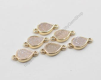 Druzy Connectors -- With Electroplated Gold Edge Handmade Drusy Geode Charm Wholesale YHA-238