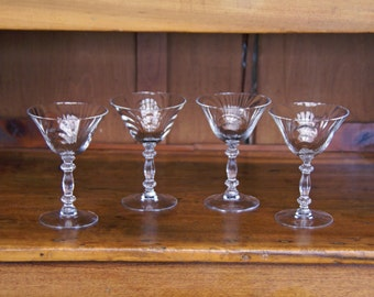 "Cambridge Clear Glass ~ ""Caprice"" Champagne/Tall Sherbet Glasses ~ Four (4) ~ 5.75"" tall ~ 3-7/8"" Diameter (rim) ~ 300-301 ~ 1930s-40s"