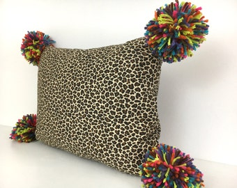 Leopard Print Lumbar Pillow Cover with Pom Poms