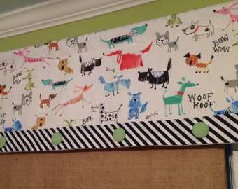 Ready To Ship.....Whimsical Rod Pocket Banded Lined Valance Display with Banding and Button Detail........Hand Made.