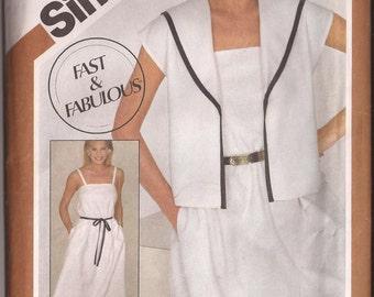 Simplicity 5880 Pattern Misses Sundress and Jacket, Size U (16-18-20),  Vintage 1983