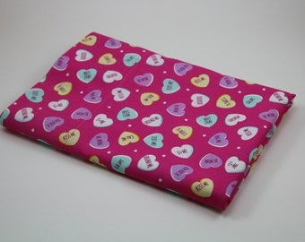 VALENTINES PILLOWCASE Conversation HEART Candy Love Notes Kids Pillowcase Valentines Bedding Holiday Bedding Valentines Decoration