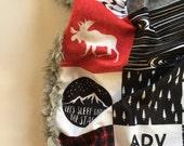 Woodland baby blanket, Blanket, Woodland Blanket, Woodland Nursery, GenderNeutral Baby Shower Gift, moose bear buffalo check plaid Nursery,