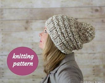 PDF KNITTING PATTERN, Chunky Pom Pom Beanie Knitting Pattern, Knit Pom Pom Hat Pattern, Wool Pom Pom Hat Pattern
