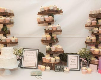 Wooden Cupcake Stand Rustic Wood Tree Slice Centerpieces Wedding Decor