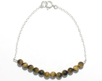 Sterling Silver and Tigers Eye Beaded Bracelet