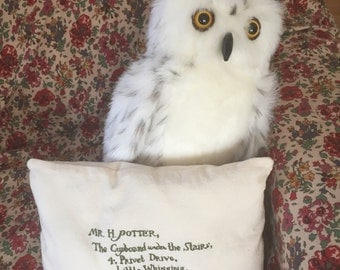 Hogwarts acceptance letter embroidered decorative cushion