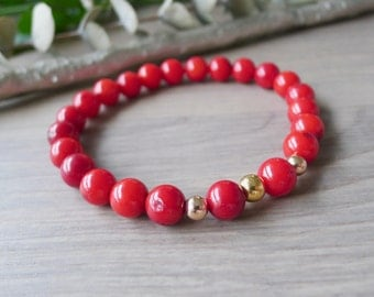 Red Bracelet, Red Coral, Modern Bracelet, Coral Bracelet, Stretch Bracelet, Stone Bracelet, Red and Gold, Modern Jewelry, Ruby Red