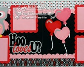 Scrapbook Page Kit Valentine Owl Hoo Loves U? Boy Girl Baby 2 page Scrapbook Layout 028