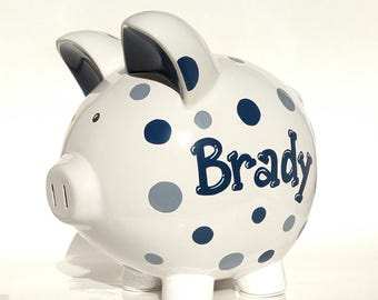 """Hand painted & Personalized   Polka Dots Piggy Bank    Ceramic   Hand-painted   Large (8"""" X 7.5"""" X 7"""")   Grey   Navy Blue   Boy Gift"""