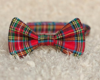 Red Plaid Christmas Bow Tie, Holiday Photo Prop Bowtie, Church Service Suit Accessorie, Ring Bearer Groomsmen Wedding Bow Tie, Adjustable