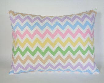 Chevron Pillow Cover, 12x16 Pillow, Easter Pillow, Pastel Pillow