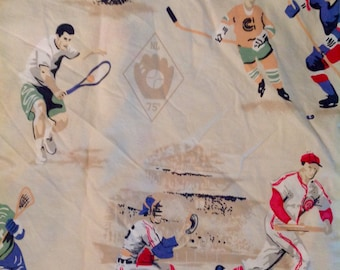 Reserve for Nancy. Vintage sheet set....Athletes......Twin size...Flat and fitted sheets