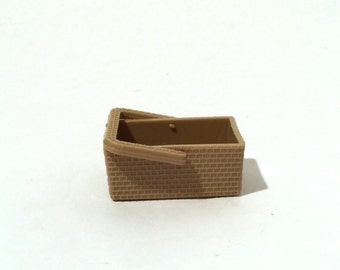 Vintage 1960s Barbie Plastic Wicker Basket with Movable Handle