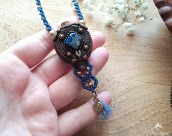 Aromatherapy Amulet necklace with lapis lazuli to Herbal essences or flask