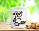 Mug art, cute coffee cup, teacup , Baby panda bear nature lovers mugs black white pink. Hot drink holder. Endangered species  - single item