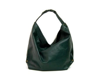 Hobo Handbag // Slouchy large shoulder bag // large hobo // forest green handbag