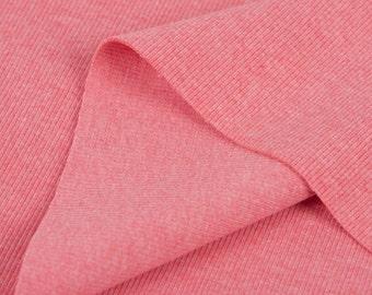 Ribbing Knit Fabric Salmon Pink Heather