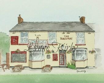 The Railay Pelsall pub Walsall watercolour art print britain village picture