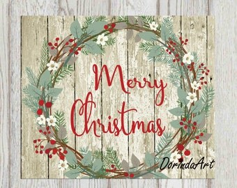 Rustic Christmas wreath print Merry Christmas printable Rustic Christmas decor Christmas sign Christmas card 4x6 5x7 8x10 16x20 Wood planks