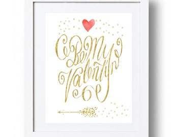 Valentines day gift for him Valentines day decor Gold and red heart Be my Valentine gift Valentines day card Valentines arrow Party decor